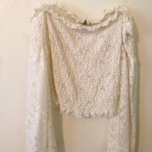 White Long Sleeve Lace Blouse Off the Shoulder